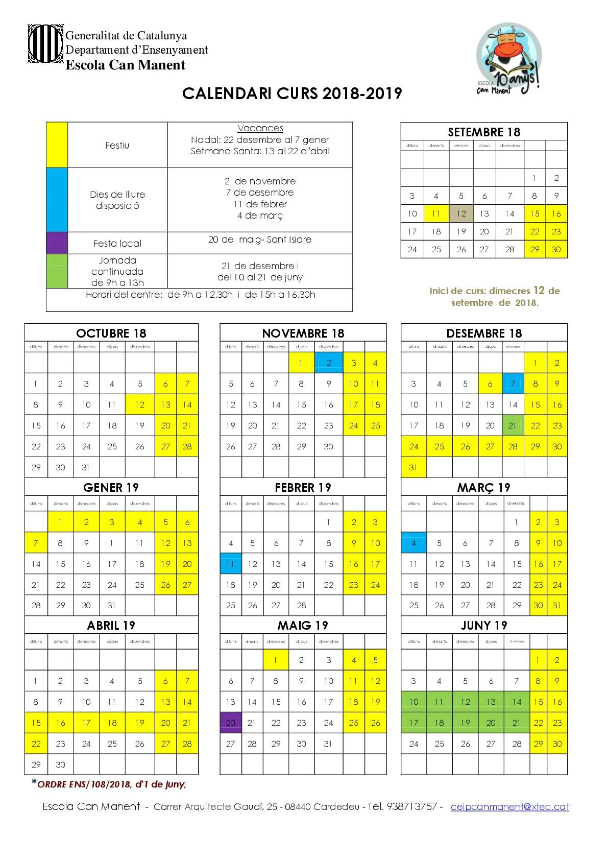 Calendari escolar 18-19 DEFINITIU