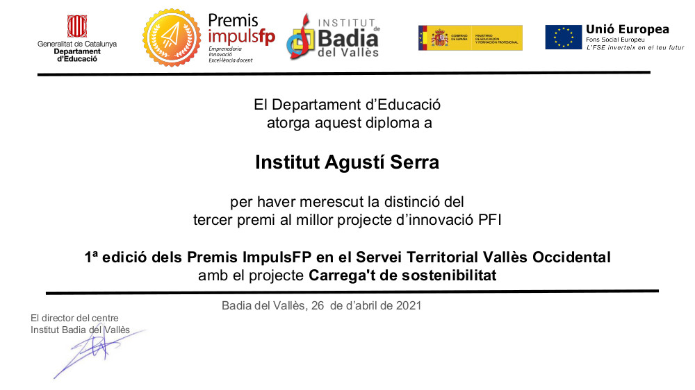 PFI, Agustí Serra i Fontanet, Sabadell, Premi ImpulsFP, FP