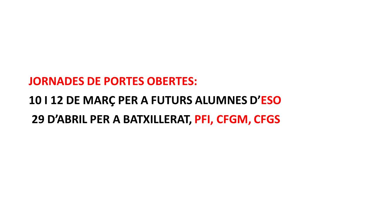 JORNADES PORTES OBERTES