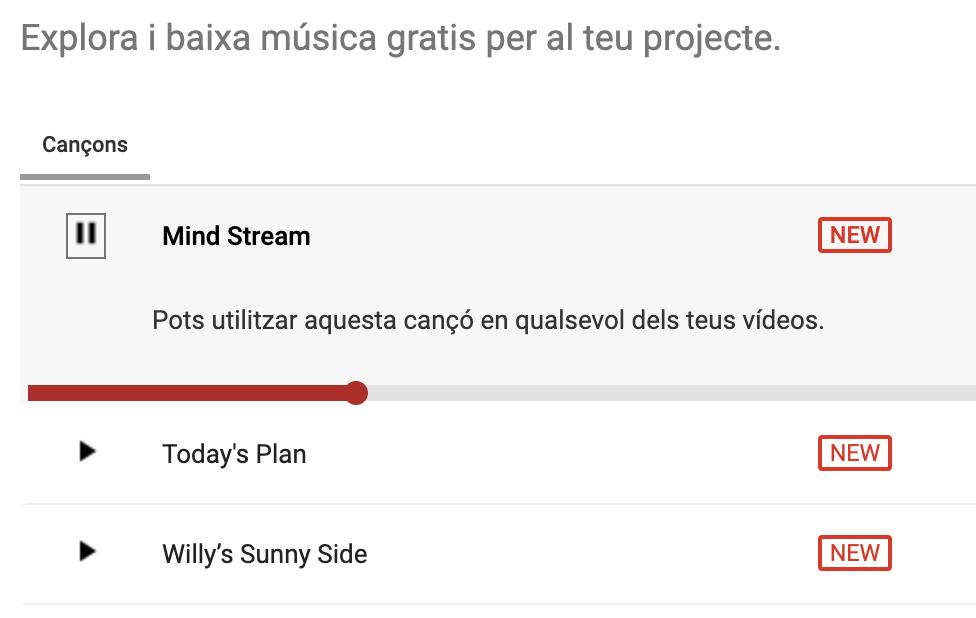Captura de pantalla del servei Audiolibrary de Youtube