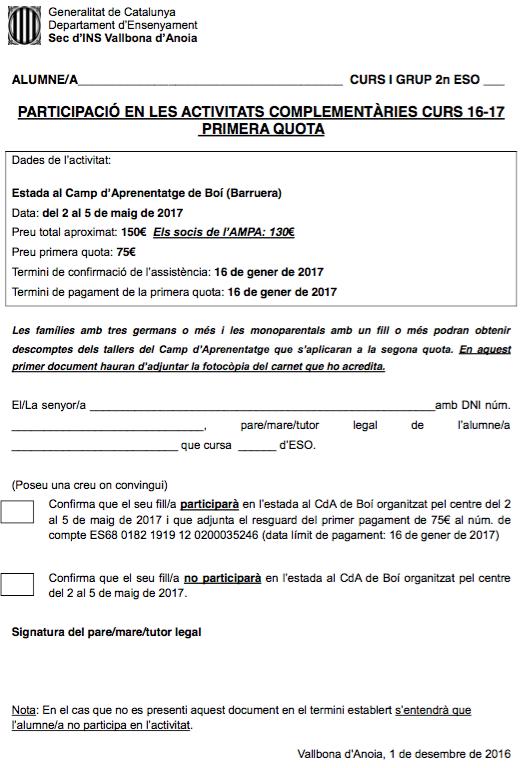 Primera quota TS2 - CdA Boí